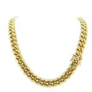 Harlembling Gold Stainless Steel Miami Cuban Chain